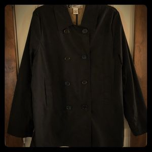 Oleg Cassini Black Short Trench Coat, Size Large